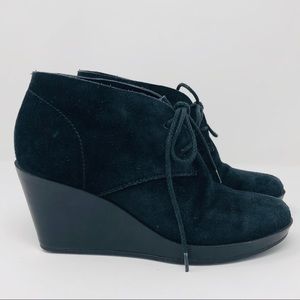 COLE HAAN NIKE AIR Black Suede Lace-Up Wedge Boot